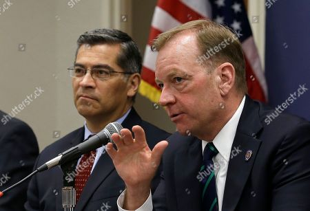 Stock Picture of Xavier Becerrta, McGregor Scott. McGregor Scott, right, the United States Attorney for the Eastern District of California, accompanied by California Attorney General Xavier Becerra, discusses an increase in the use of a banned pesticide at illegal marijuana farms hidden on public lands, in Sacramento, Calif. Researchers found the highly toxic pesticide Carbofuran, which can't legally be used in the Unites States, at 72 percent of grow sites last year, up 15 percent from 2012