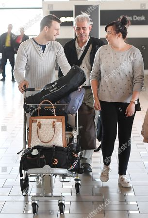 Australian boxer Jeff Horn (left) and his wife Joanne arrive to check in for their flight at Brisbane airport, Brisbane, Australia, 30 May 2018. Horn will battle American boxer Terence Crawford in a world welterweight title fight in Las Vegas on 09 June.