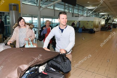 Stock Photo of Australian boxer Jeff Horn, his wife Joanne, and baby daughter Isabelle, arrive to check in for their flight at Brisbane airport, Brisbane, Australia, 30 May 2018. Horn will battle American boxer Terence Crawford in a world welterweight title fight in Las Vegas on 09 June.