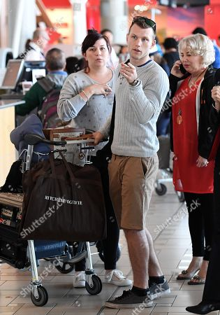 Stock Picture of Australian boxer Jeff Horn and wife Joanne (left) check in for their flight at Brisbane airport,  Brisbane, Australia, 30 May 2018. Horn will battle American boxer Terence Crawford in a world welterweight title fight in Las Vegas on 09 June.
