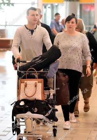 Australian boxer Jeff Horn and wife Joanne arrive to check in for their flight at Brisbane airport,  Brisbane, Australia, 30 May 2018. Horn will battle American boxer Terence Crawford in a world welterweight title fight in Las Vegas on 09 June.