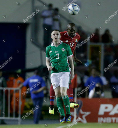 Northern Ireland's Shane Ferguson, 3, and Panama's Adolfo Machado fight for the ball during a friendly soccer match in Panama City