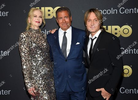 Nicole Kidman, Richard Plepler, Keith Urban. Actress Nicole Kidman, left, honoree HBO CEO Richard Plepler and musician Keith Urban attend the Lincoln Center for the Performing Arts American Songbook Gala at Alice Tully Hall, in New York