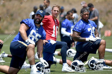 John Sullivan, Jared Goff, Rodger Saffold. Los Angeles Rams' John Sullivan, Jared Goff and Rodger Saffold, from left, stretch at the NFL football team's practice in Thousand Oaks, Calif