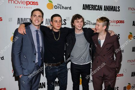 Blake Jenner, from left, Jared Abrahamson, Evan Peters, and Barry Keoghan