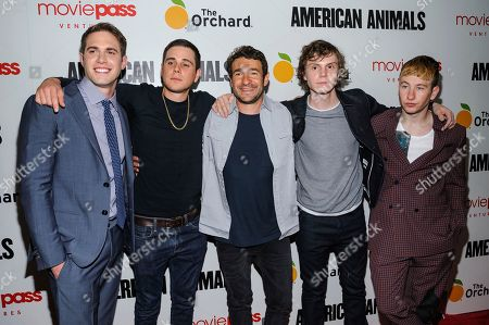 "Stock Image of Blake Jenner, Jared Abrahamson, Bart Layton, Evan Peters, Barry Keoghan. Blake Jenner, from left, Jared Abrahamson, Bart Layton, Evan Peters, and Barry Keoghan attend the premiere of ""American Animals"" at Regal Union Square, in New York"