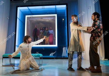 Paul Anderson as Tartuffe, Sebastian Roche as Orgon, George Blagden as Damis
