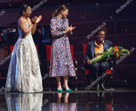 Alice Bah Kuhnke, Swedish minister of culture, Crown Princess Victoria, Jacqueline Woodson, laureate of the 2018 Astrid Lindgren Memorial Award (ALMA)