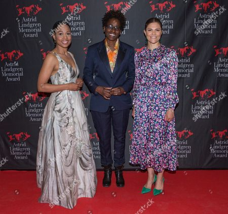 Alice Bah Kuhnke, Swedish minister of culture, Jacqueline Woodson, laureate of the 2018 Astrid Lindgren Memorial Award (ALMA), Crown Princess Victoria