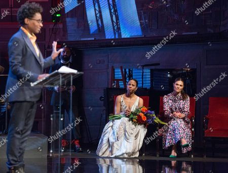 Jacqueline Woodson, laureate of the 2018 Astrid Lindgren Memorial Award (ALMA), Alice Bah Kuhnke, Swedish minister of culture, Crown Princess Victoria