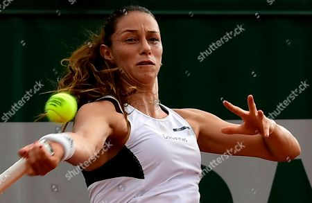 Mariana Duque-Marino of Colombia plays Camila Giorgi of Italy during their women?s second round match during the French Open tennis tournament at Roland Garros in Paris, France, 30 May 2018.