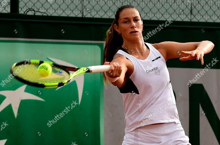 Stock Image of Mariana Duque-Marino of Colombia plays Camila Giorgi of Italy during their women?s second round match during the French Open tennis tournament at Roland Garros in Paris, France, 30 May 2018.