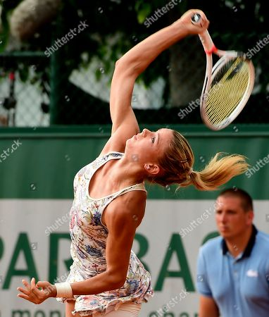 Stock Photo of Camila Giorgi of Italy plays Mariana Duque-Marino of Colombia during their women?s second round match during the French Open tennis tournament at Roland Garros in Paris, France, 30 May 2018.