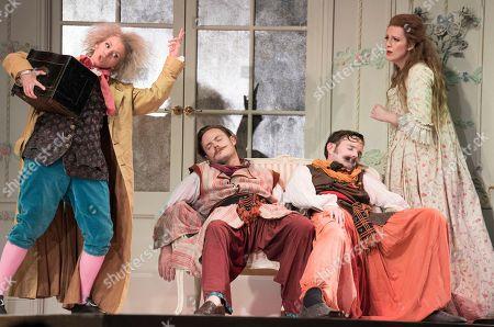 Stock Image of Sarah Tynan as Despina, Nick Pritchard as Ferrando, Nicholas Lester as Guglielmo,  Kitty Whately as Dorabella,
