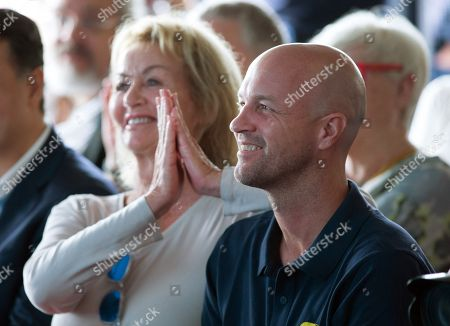 Stock Image of Danny Cruyff (L), Dutch soccer legend Johan Cruyff's widow, and their son Jordi Cruyff attend the presentation of the new members of the Cruyff Foundation's Board of Trustees, in Barcelona, Spain, 30 May 2018.