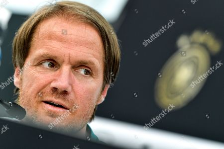 Stock Image of Germany's assistant coach Thomas Schneider speaks to the media during a press conference of the German national soccer team in Eppan, Italy, 30 May 2018. The German squad prepares for the upcoming FIFA World Cup 2018 soccer championship in Russia at a training camp in Eppan, South Tyrol, until 07 June 2018.