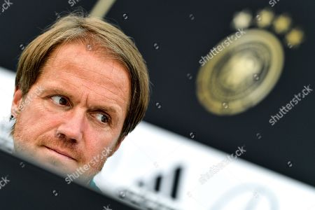 Germany's assistant coach Thomas Schneider speaks to the media during a press conference of the German national soccer team in Eppan, Italy, 30 May 2018. The German squad prepares for the upcoming FIFA World Cup 2018 soccer championship in Russia at a training camp in Eppan, South Tyrol, until 07 June 2018.