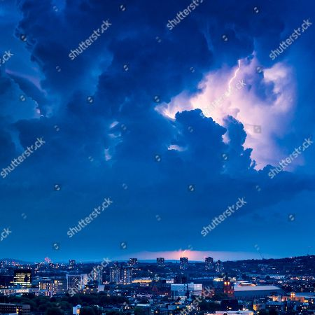 Stock Photo of Lightning over North London captured by photographer James Burns