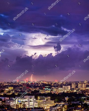 Stock Picture of Lightning over Wembley Stadium in North London captured by photographer James Burns