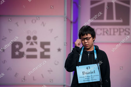Daniel Wu, from Arizona College Preparatory School, in Chandler, Arizona, reacts to misspelling dyspeptic during round three of the 2018 Scripps National Spelling Bee in National Harbor, Maryland, USA, 30 May 2018. Some 516 spellers are competing for 40,000 USD and the championship trophy.