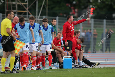 Malky Mackay issues some instructions from the Scotland U21 dugout area during Scotland Under-21 vs France Under-20, Tournoi Maurice Revello Football at Stade d'Honneur Marcel Roustan on 30th May 2018