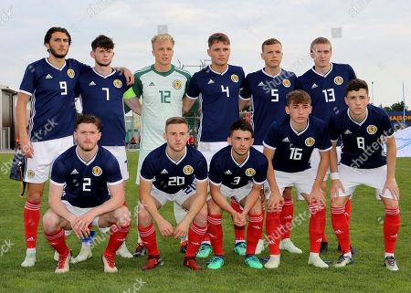 Scotland U21 Team Photo. Top Row (L-R) Fraser Hornby, Oliver Burke, Robby McCrorie, Jason Kerr, Ryan Porteous and Iain Wilson. Front Row (L-R) Anthony Ralston, Alan Campbell, Greg Taylor, Billy Gilmour and Michael Johnston during Scotland Under-21 vs France Under-20, Tournoi Maurice Revello Football at Stade d'Honneur Marcel Roustan on 30th May 2018