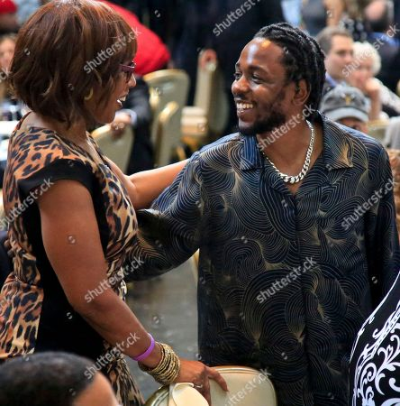 Lamar, King. CBS news anchor Gayle King, left, meets with Pulitzer Prize winner for music Kendrick Lamar during the 2018 Pulitzer Prize awards luncheon ceremony at Columbia University, in New York
