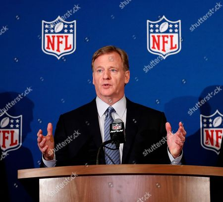 Roger Goodell, Art Rooney II, Michael Bidwill. NFL commissioner Roger Goodell gestures while speaking during the NFL owner's spring meeting in Atlanta. A federal judge in Philadelphia heard arguments, in the NFL's request for a special investigator to look into what the league says are fraudulent claims in a $1 billion concussion settlement