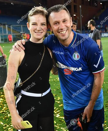 Former Italian soccer player Antonio Cassano and Italian paralympic fencer, Beatrice Vio, during  the 27th charity 'Match for the Heart' at Luigi Ferraris stadium in Genoa, Italy, 30 May 2018. Charity Match for the Heart will be between the teams of Italian singers and the Smile Champions' actors and comedians.