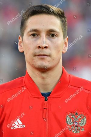 Russia's Daler Kuzyayev during the friendly soccer match between Austria and Russia in the Tivoli Stadium in Innsbruck, Austria, on