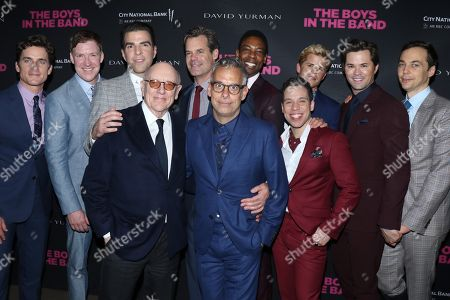 Matt Bomer, Brian Hutchison, Zachary Quinto, Tuc Watkins, Michael Benjamin Washington, Charlie Carver, Andrew Rannells, Jim Parsons and in front - Mart Crowley, playwright, Joe Mantello, director and Robin De Jesus