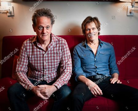 Brothers Kevin Bacon, right, and Michael Bacon pose in New York to promote their self-titled album out Friday. The pair will also launch a three-month concert tour