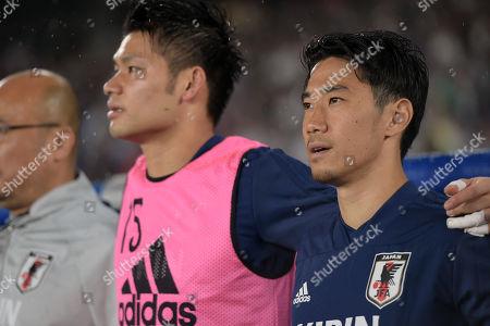 Kosuke Nakamura (L) and Shinji Kagawa of Japan