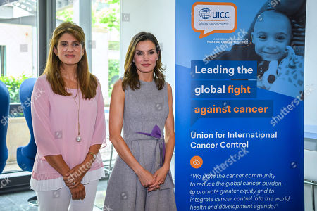 Spain's Queen Letizia, center, HRH Princess Dina Mired of Jordan President-elect of UICC, left, and Cary Adams, right, Chief Executive Officer UICC, pose, during a queen's visit at the headquarters of the Union for International Cancer Control (UICC) in Geneva, Switzerland, 31 May 2018.