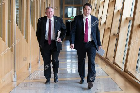 Scottish Parliament First Minister's Questions - Alex Rowley and Neil Bibby make their way to the Debating Chamber.