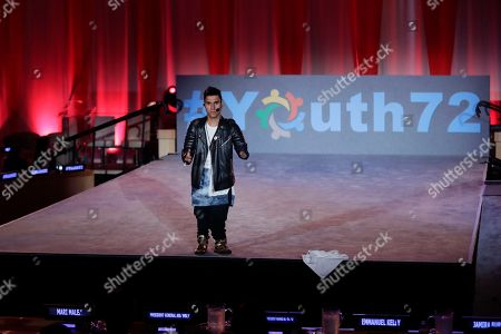 Singer and songwriter Emmanuel Kelly tells his story and sings his song at the President of the General Assembly's Youth Dialogue
