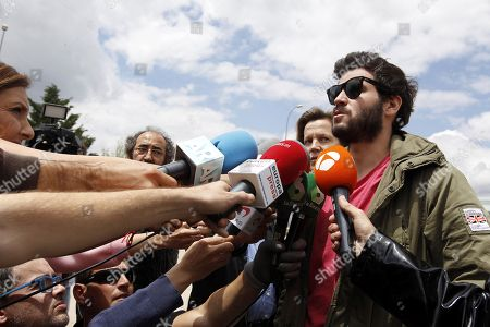 Stock Photo of Guillermo 'Willy' Barcenas, son of former People's Party (PP) treasurer Luis Barcenas, addresses the media in front of the prison of Soto del Real as he waits the release on bail of his mother, Rosalia Iglesias (not pictured), in Madrid, Spain, 31 May 2018. Rosalia Iglesias was sentenced to 15 years in prison after being found guilty in the so-called Guertel corruption case but she has been released after paying 200,000 euros bail.