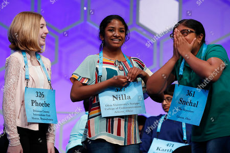 Phoebe Smith, Nilla Rajan, Snehal Choudhury. Phoebe Smith, 12, from Aston, Pa., left, and Nilla Rajan, 13, from Chillicothe, Ohio, congratulate Snehal Choudhury, 13, from Massillon, Ohio, right, after she spelled her word correctly during competition in the Scripps National Spelling Bee in Oxon Hill, Md