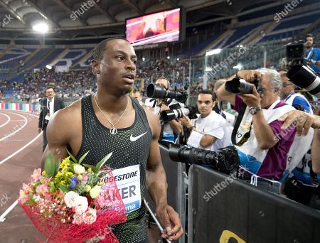 Stock Picture of Ronnie Baker from USA reacts after the Men's 100m event at the Rome Diamond League Golden Gala 2018 at Olimpico Stadium in Rome, Italy, 31 May 2018.