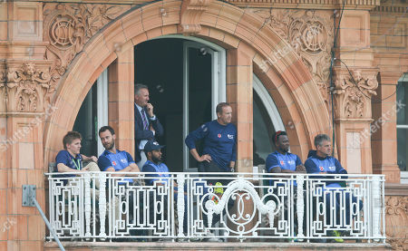 Stock Photo of Andy Flower (centre) on the World XI balcony