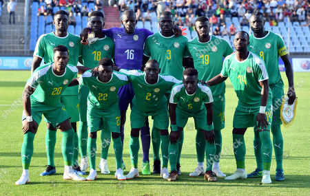 Stock Photo of Senegal's team lines up for a group photo prior to a friendly soccer match between Luxembourg and Senegal at the Josy Barthel stadium in Luxembourg, . Front row left to right, Senegal's Keita Balde, Senegal's Moussa Wague, Senegal's Saliou Ciss, Senegal's Idrissa Gueye, Senegal's Moussa Konate. Back row left to right, Senegal's Alfred N'Diaye, Senegal's Ismaila Sarr, Senegal's goalkeeper Khadim N'Diaye, Senegal's Kalidou Koulibaly, Senegal's M'Baye Niang and Senegal's Cheikhou Kouyate