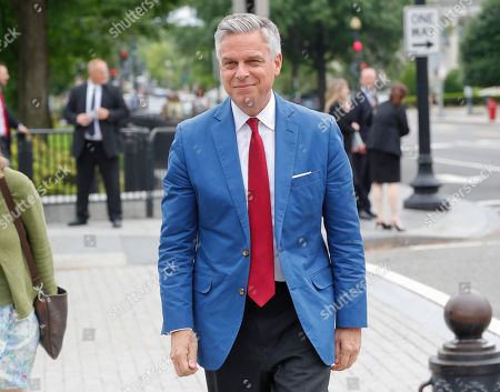 Jon Huntsman, U.S. ambassador to Russia, is seen arriving at the security check point entrance of the White House in Washington