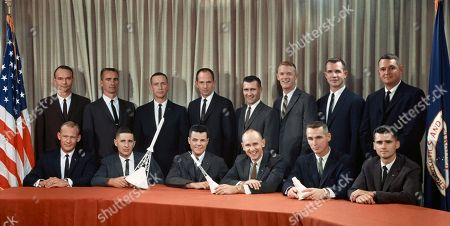 Stock Image of These fourteen pilots have been assigned to begin training for astronaut positions with the National Aeronautics and Space Administration (NASA). The photograph was taken i. Front row, from the left, Edwin E. Aldrin Jr., William A. Anders, Charles A. Bassett II, Alan L. Bean, Eugene A. Cernan and Roger B. Chaffee. Back row, from the left, Michael Collins, Walter Cunningham, Donn F. Eisele, Theodore C. Freeman, Richard F. Gordon Jr., Russell L. Schweickart, David R. Scott and Clifton C. Williams Jr.