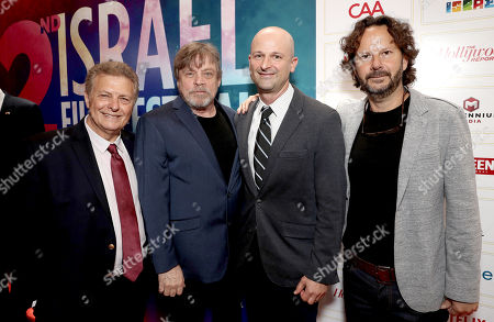 Executive Director/Founder of IFF Meir Fenigstein, Mark Hamill, 2018 IFF Achievement in Televison Award Winner Netflix's Larry Tanz and 2018 IFF Achievement in Film Award Winner Producer Ram Bergman