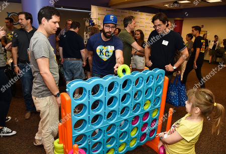 Michael Ian Black, Martin Starr and Josh Hopkins with patient at Children's Mercy Hospital