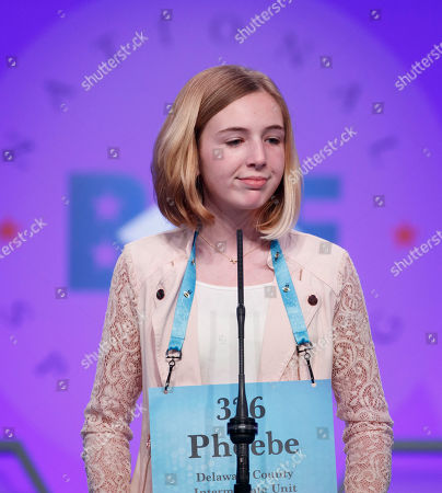 Phoebe Smith, from Morton, Pennsylvania, misspells cabalassou during the final round of the 2018 Scripps National Spelling Bee in National Harbor, Maryland, USA, 31 May 2018. The 16 finalists are competing for 40,000 US dollars and the championship trophy.