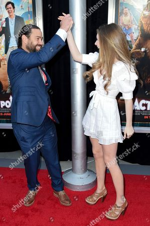 "Chris Pontius, Eleanor Worthington Cox. Chris Pontius, left, and Eleanor Worthington Cox attend the LA Premiere of ""Action Point"" at ArcLight Hollywood, in Los Angeles"