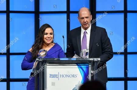 """Gloria Calderon Kellett, Mike Royce. Gloria Calderon Kellett, left, and Mike Royce accept the Television Academy Honor for """"One Day at a Time,"""" and are recognized for using the power of TV to increase awareness and positively impact society at the 11th Annual """"Television Academy Honors"""" held at NeueHouse in Los Angeles"""