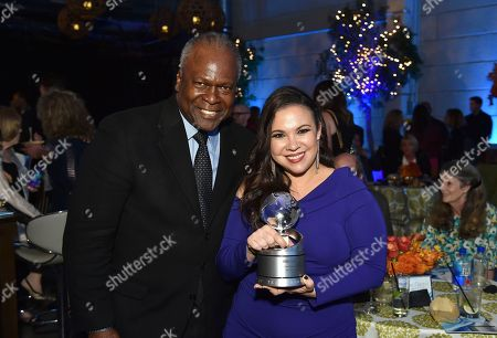 "Stock Photo of Kim Estes, Gloria Calderon Kellett. Kim Estes, left, and Gloria Calderon Kellett, winner of the Television Academy Honor for ""One Day at a Time,"" attend the 11th Annual ""Television Academy Honors"" held at NeueHouse in Los Angeles"