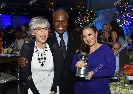 "Stock Picture of Rita Moreno, Kim Estes, Gloria Calderon Kellett. Rita Moreno, from left, Kim Estes and Gloria Calderon Kellett, winner of the Television Academy Honor for ""One Day at a Time,"" attend the 11th Annual ""Television Academy Honors"" held at NeueHouse in Los Angeles"